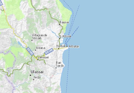 Cartina Sardegna Jerzu.Mappa Michelin Arbatax Pinatina Di Arbatax Viamichelin