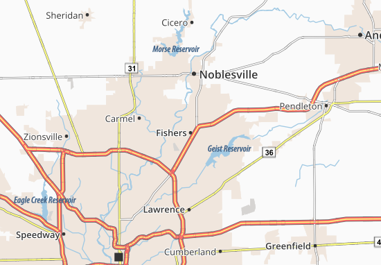 Kaart Plattegrond Fishers