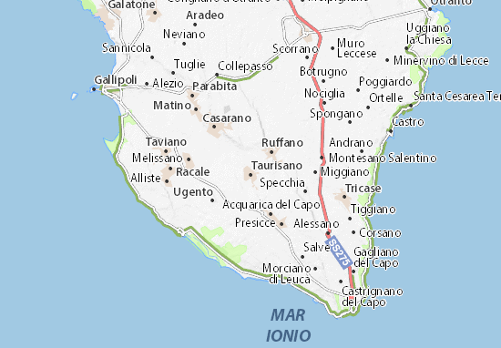 Salve Puglia Cartina.Mappa Michelin Taurisano Pinatina Di Taurisano Viamichelin