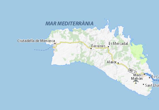 Mapa De Menorca Calas.Mapa Cala Galdana Plano Cala Galdana Viamichelin