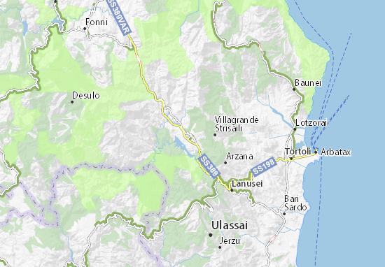 Cartina Sardegna Jerzu.Mappa Michelin Villanova Strisaili Pinatina Di Villanova Strisaili Viamichelin