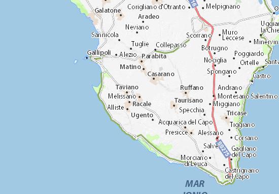Cartina Puglia Dettagliata Gallipoli.Mappa Michelin Melissano Pinatina Di Melissano Viamichelin