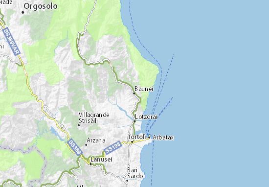 Ogliastra Cartina Geografica.Mappa Michelin Baunei Pinatina Di Baunei Viamichelin