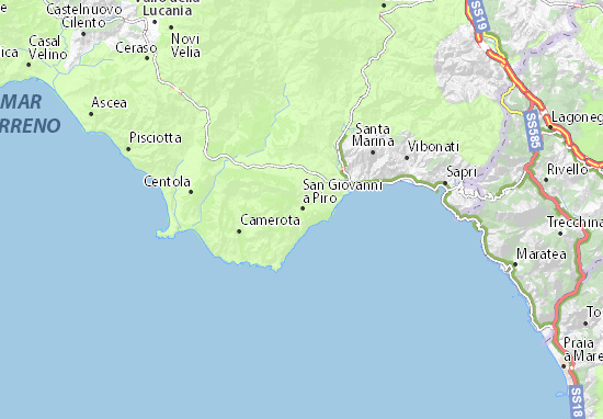 Kaart Plattegrond San Giovanni a Piro