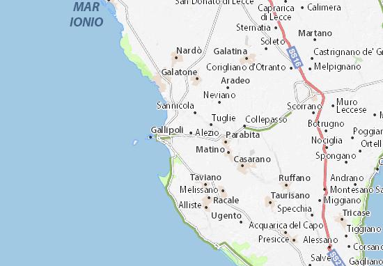 Kaart Plattegrond Alezio