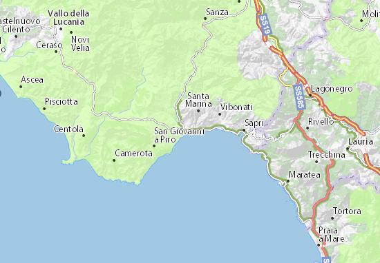 Maratea Sulla Cartina Geografica.Mappa Michelin Policastro Bussentino Pinatina Di Policastro Bussentino Viamichelin