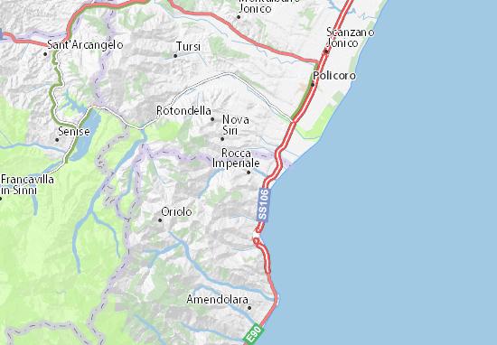 Metaponto Cartina Geografica.Mappa Michelin Rocca Imperiale Pinatina Di Rocca Imperiale Viamichelin