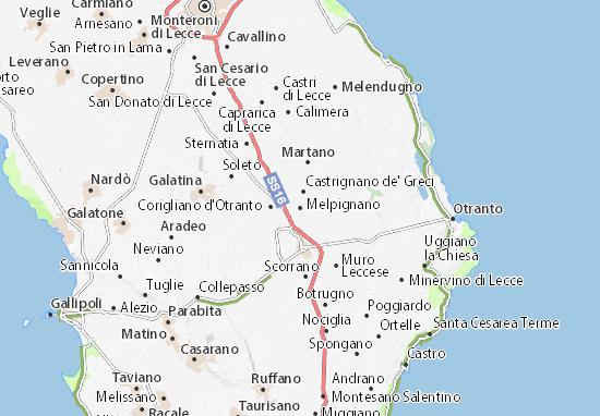 Kaart Plattegrond Melpignano
