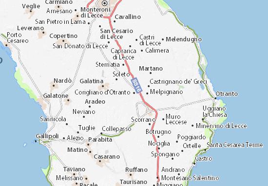 Mappa Puglia Otranto.Mappa Michelin Corigliano D Otranto Pinatina Di Corigliano D Otranto Viamichelin