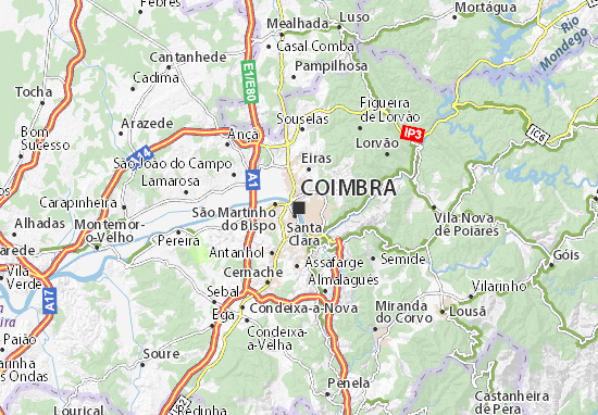 Map Of Coimbra Michelin Coimbra Map ViaMichelin - Portugal map michelin