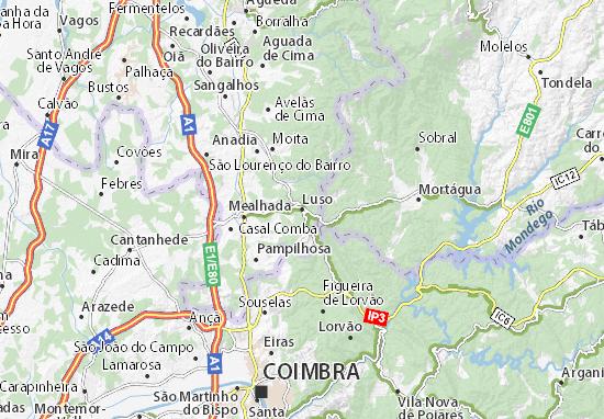 mapa de portugal curia Mapa Luso   plano Luso   ViaMichelin mapa de portugal curia