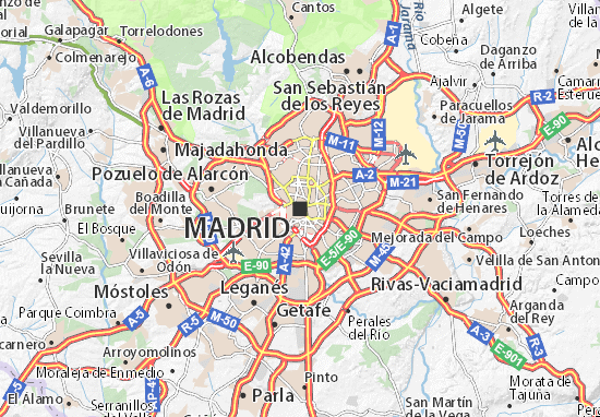 Map of Madrid Michelin Madrid map ViaMichelin – Madrid Tourist Attractions Map