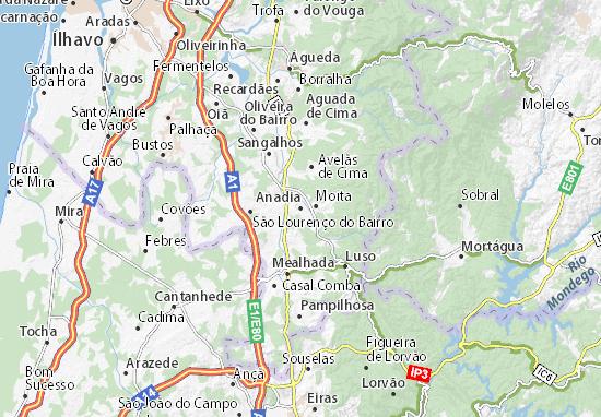 mapa de portugal anadia Mapa Anadia   plano Anadia  ViaMichelin mapa de portugal anadia