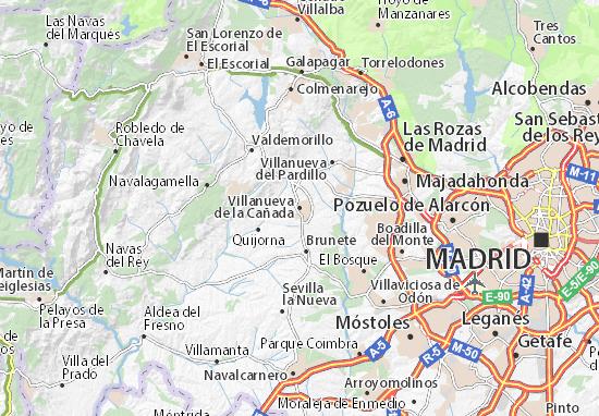 Karte Stadtplan Villanueva de la Cañada