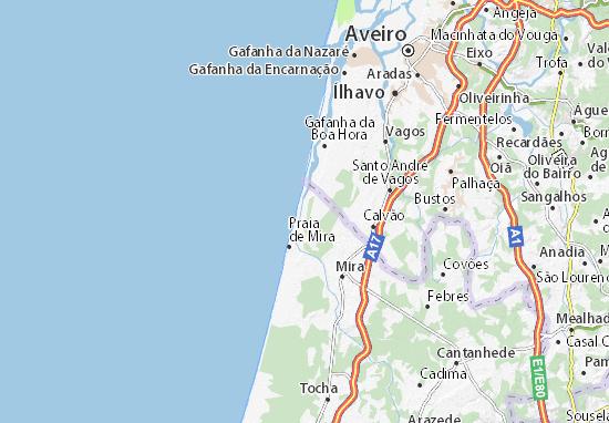Map Of Barra De Mira Michelin Barra De Mira Map ViaMichelin - Vagos portugal map