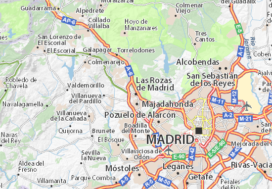 Karte Stadtplan Las Rozas de Madrid