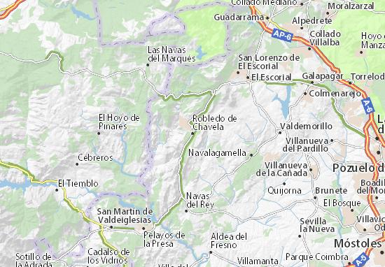 Karte Stadtplan Robledo de Chavela