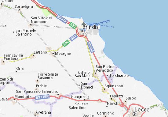 Cartina Geografica Brindisi.Mappa Michelin Brindisi Pinatina Di Brindisi Viamichelin