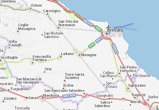 Cartina Geografica Brindisi.Mappa Michelin Mesagne Pinatina Di Mesagne Viamichelin