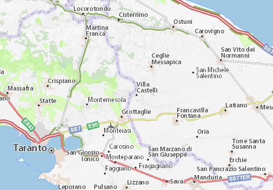 Cartina Puglia Carovigno.Mappa Villa Castelli Cartina Villa Castelli Viamichelin