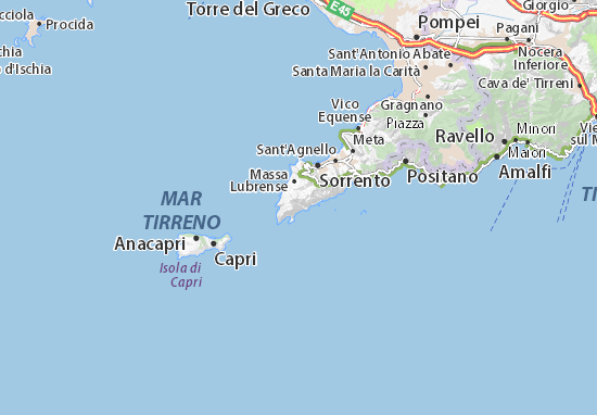 Costiera Amalfitana Cartina Stradale.Mappa Nerano Cartina Nerano Viamichelin