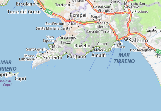 Furore Italy Map.Map Of Furore Michelin Furore Map Viamichelin