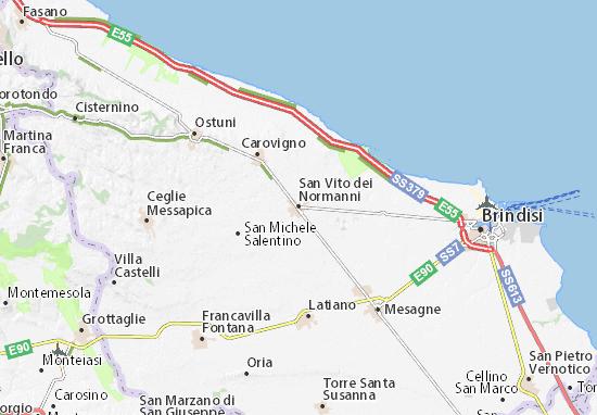 Cartina Puglia Carovigno.Mappa San Vito Dei Normanni Cartina San Vito Dei Normanni