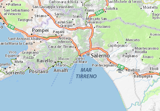 Cartina Campania Mare.Map Of Vietri Sul Mare Michelin Vietri Sul Mare Map