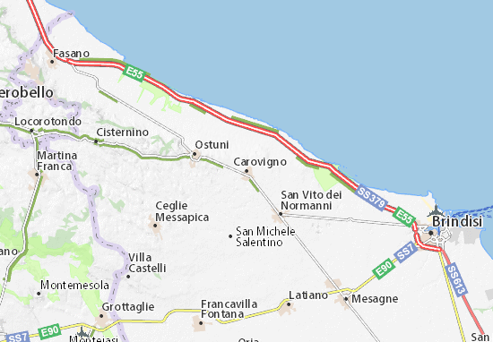 Cartina Puglia Carovigno.Mappa Carovigno Cartina Carovigno Viamichelin