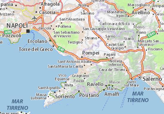 Cartina Geografica Napoli E Dintorni.Mappa Michelin Pompei Pinatina Di Pompei Viamichelin