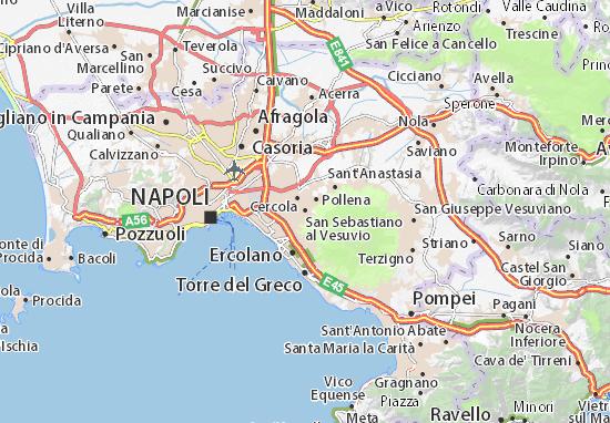 Map of san sebastiano al vesuvio michelin san sebastiano - Agenzie immobiliari san sebastiano al vesuvio ...