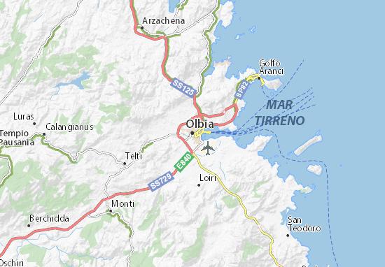 Cartina Sardegna Vicino Olbia.Mappa Michelin Olbia Pinatina Di Olbia Viamichelin