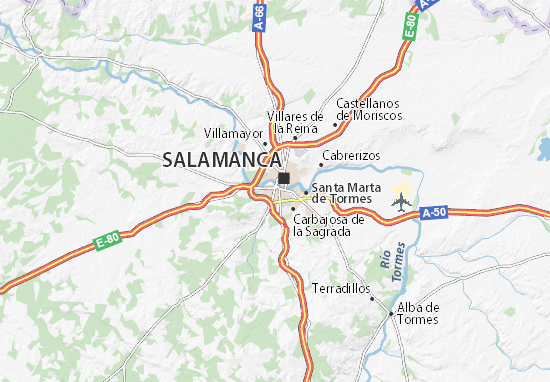 Salamanca Spanien Karte.Karte Stadtplan Salamanca Viamichelin