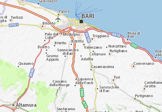 Cartina Geografica Italia Bari.Mappa Adelfia Cartina Adelfia Viamichelin