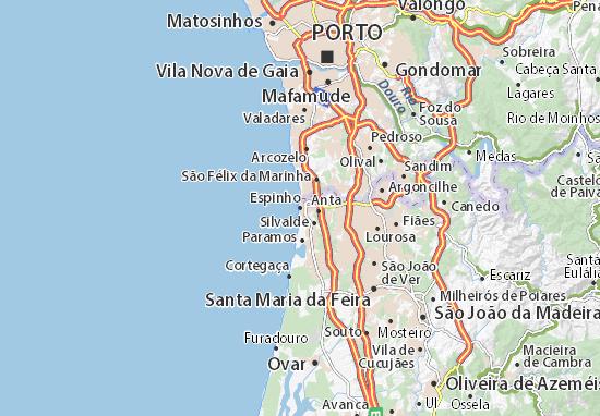 mapa de portugal espinho Mapa Espinho   plano Espinho  ViaMichelin mapa de portugal espinho