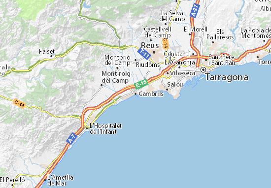 Mapa Cambrils– plan Cambrils – ViaMichelin