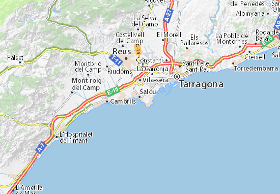 Map Of Spain Showing Salou.Salou Map Detailed Maps For The City Of Salou Viamichelin