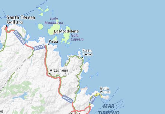 Cartina Sardegna Con Hotel.Mappa Michelin Porto Cervo Pinatina Di Porto Cervo Viamichelin