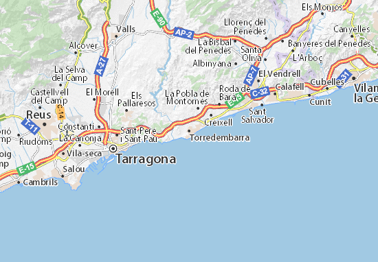 Map of Torredembarra - Michelin Torredembarra map - ViaMichelin