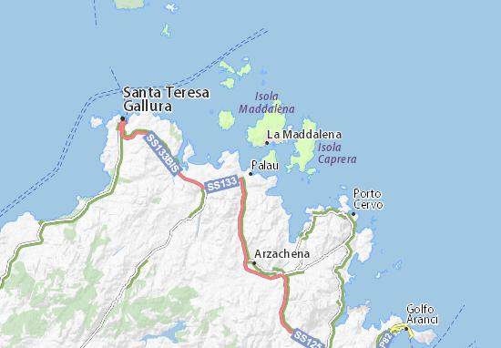 Palau Sardegna Cartina.Mappa Michelin Palau Pinatina Di Palau Viamichelin