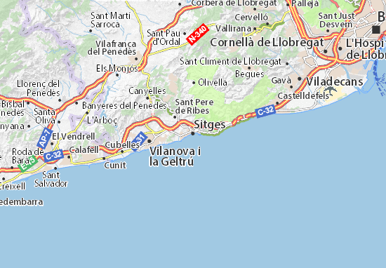 Carte Barcelone Et Ses Environs.Carte Detaillee Sitges Plan Sitges Viamichelin