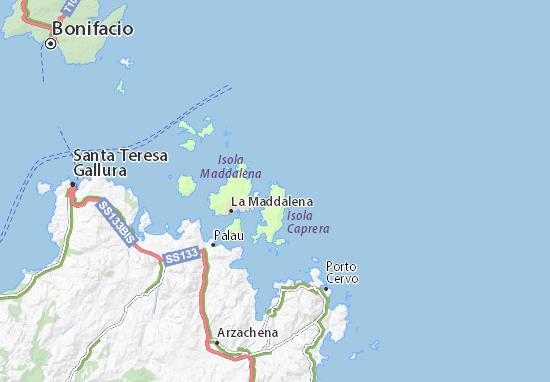 Isole Sardegna Cartina.Mappa Michelin Arcipelago Della Maddalena Pinatina Di Arcipelago Della Maddalena Viamichelin