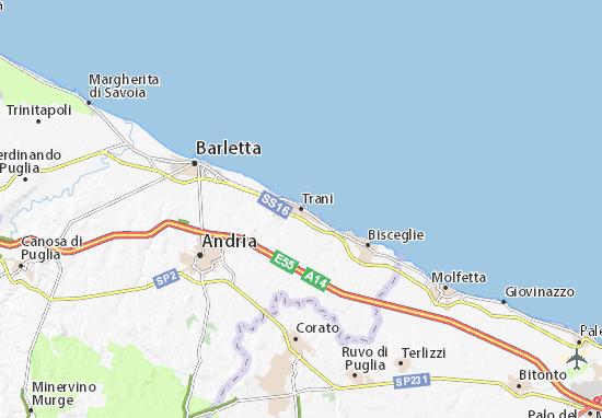 Ruvo Di Puglia Cartina.Mappa Michelin Trani Pinatina Di Trani Viamichelin