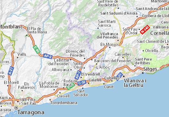 Llorenç del Penedès Map