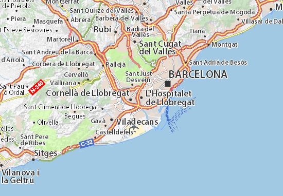 Carte Barcelone Et Ses Environs.Carte Detaillee L Hospitalet De Llobregat Plan L