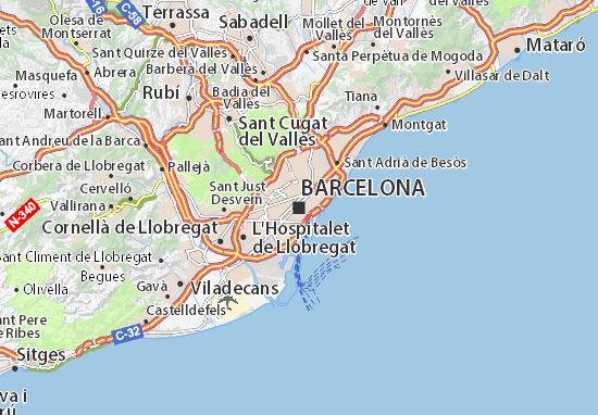 Map of Barcelona - Michelin Barcelona map - ViaMichelin