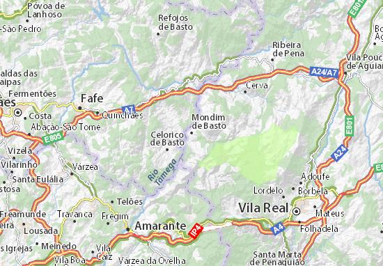 mapa de portugal mondim de bastos Mapa Mondim de Basto   plano Mondim de Basto  ViaMichelin mapa de portugal mondim de bastos