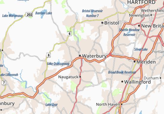 Karte Stadtplan Waterbury