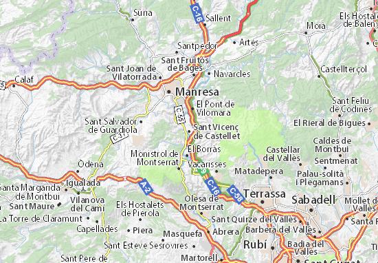 Kaart Plattegrond Sant Vicenç de Castellet