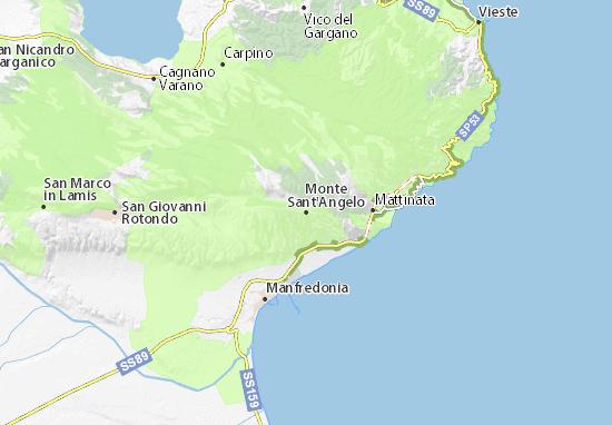 Cartina Geografica San Giovanni Rotondo.Mappa Michelin Monte Sant Angelo Pinatina Di Monte Sant Angelo Viamichelin